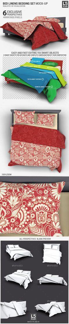 Bed Linens Bedding Set Mock-Up #mockup #bedding Download: http://graphicriver.net/item/bed-linens-bedding-set-mockup/11624806?ref=ksioks