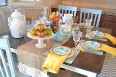 Design Stash: Aqua and Yellow Fall Tablescape. Love the non-traditional colors! Fall Table Settings, Thanksgiving Table Settings, Thanksgiving Tablescapes, Thanksgiving Ideas, Fall Crafts, Crafts To Make, Dinner Themes, Fall Halloween, Halloween Crafts