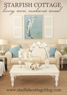 Today on Starfish Cottage: Updates in the Living Room! http://kristyseibert.com/blog/2015/03/coastal-living-room-makeover.html