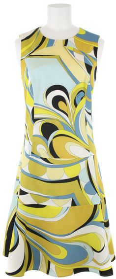 Ma tante avait cette robe. EMILIO PUCCI Sleeveless Cotton Dress with All-over Pucci Pattern