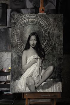 "Emotive of Soul"" Model: Kitty Chicha Amatayakul Charcoal + White chalk on canvas 100 cm. White Chalk, Home Studio, My Girl, Charcoal, Mona Lisa, Kitty, Canvas, Drawings, Artwork"