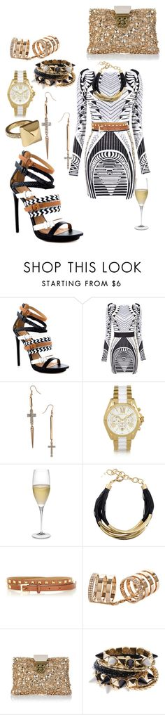 """tribal chic"" by highfashionfiles ❤ liked on Polyvore featuring L.A.M.B., Miss Selfridge, Juicy Couture, Michael Kors, Riedel, sass & bide, Warehouse, Repossi, Chloé and tribal aztec strappy heels studded belt gold watch"
