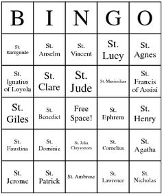 Roman Catholic Saints Bingo Card Getting ready for All Saints Day!