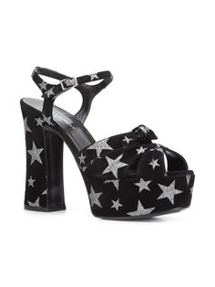 Get the must-have sandals of this season! These Saint Laurent Black Betty Suede Glitter Star Platform Heel 457733 1054 Sandals Size EU 39 (Approx. Fancy Shoes, Me Too Shoes, Suede Leather, Black Suede, Ysl Sandals, Saint Laurent Shoes, Black Betty, Glitter Stars, Heeled Mules