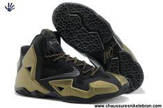 626dd53e1b8 2014 Chaussures Bronze Noir Nike LeBron 11 616175-001 Bronze