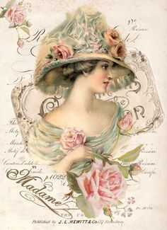 Vintage illustration woman Digital collage p1022 Free for personal use ♥