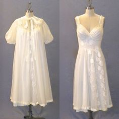 Vintage 1950s Ivory Nightgown & Peignoir Set by Gotham Gold Stripe with Appliquéd Floral Roses - matches the new old stock slip that I will be putting in my store this week!
