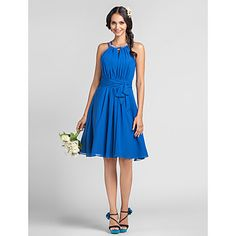 Sheath/Column+Halter+High+Neck+Knee-length+Chiffon+Bridesmaid+Dress+–+AUD+$+118.77