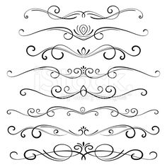 Decorative page dividers. Hi res jpeg included. Scroll down to see… Decorative Ornaments stock vector art 15428106 – iStock Dr Tattoo, Page Dividers, Cursive Alphabet, Quilled Creations, Scroll Design, Arabesque, Free Vector Art, Swirls, Design Elements