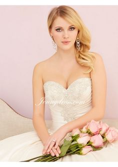 2015 Satin Beaded Sweetheart Ball Gown Wedding Dress With Ruched Bodice