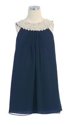 Dark Blue Flower Girl Dress with Pearl Neckline
