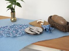 Blue Table Cloth & Napkin Set for 1:12 Scale by MiddleStreetMinis