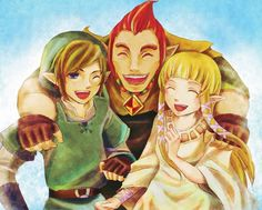 Link, Zelda and Dorgan (in almost-Groose mode, but note the short peak), after the first time skip, but before everything goes to the Demon Realm, in Parallel Destiny.