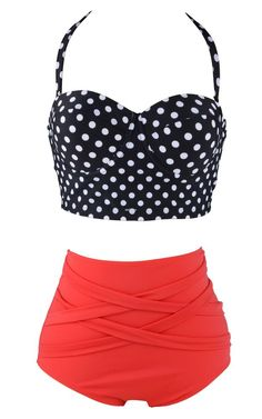 177fe6a21e4 Details about Cutest Retro Swimsuit Swimwear Vintage Pin Up High Waist  Bikini S/M/L/XL/XXL
