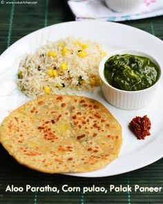 Lunch menu 48 with Palak paneer, sweet corn pulao, aloo paratha! Lunch Recipes Indian, Lunch Box Recipes, Lunch Menu, Breakfast Lunch Dinner, Vegetarian Lunch, Vegetarian Recipes, Low Cal Diet, Easy Cooking, Cooking Recipes