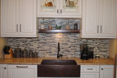 Cabinets Plus Design-Glenn Kitchen  Copper Farmhouse Sink, Slate/Glass Linear Tile Backsplash