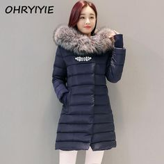 OHRYIYIE 2017 Women's Long Winter Rhinestones Jacket Women Parkas Thick Warm Female Fur Hooded Parka Cotton Padded Jackets Coats #Affiliate