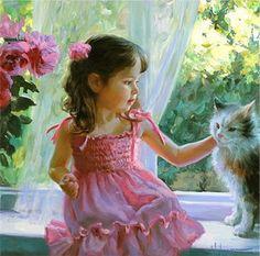 """Pintura """"Little girl and cat"""" del ruso (nacido en Chabarovsk) Vladimir Volegov."""