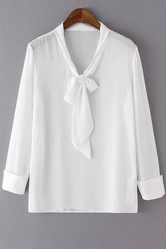 Solid Color Bow Tie Collar Long Sleeve Blouse - WHITE XL
