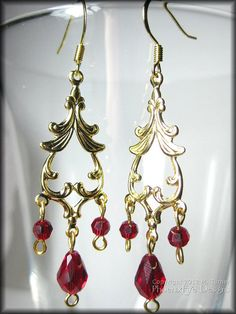Ruby Red Gold Chandelier Earrings Gold Plated Swarovski Crystal Siam Bollywood India Indian Bali Style Gift For Her Gift under 20