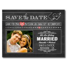 Calendar Photo Save The Date Cards Post Card #chalkboard #save ...