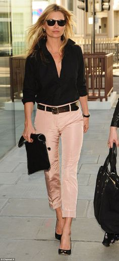 Kate Moss wearing cropped trousers. The style is great for summer and can be dressed up or down