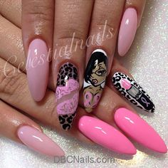 Image shared by Find images and videos about nails, nail art and nail design on We Heart It - the app to get lost in what you love. Sexy Nails, Dope Nails, Fancy Nails, Stiletto Nails, Pink Nails, Bad Nails, Fabulous Nails, Gorgeous Nails, Pretty Nails