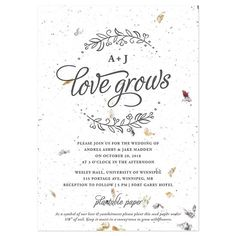 This delicate and elegant wedding invitation is our first ever to be offered with the option of using petalled paper! Embedded with real flower petals, the petalled paper option has a romantic and handmade quality that is unforgettable. Or, if colored paper is more your style, you can choose f...