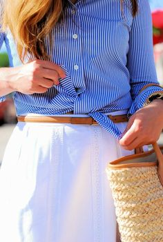 A Lily Love Affair: Crisp Preppy Summer Style  @J.Crew white skirt, @Ann Taylor stripe button down top, @Tory Burch straw tote