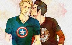 arte OTP bacio Iron Man Tony Stark fan art di Capitan America del Steve Rogers Marvel Avengers superhusbands Vendicatori domestici Stony