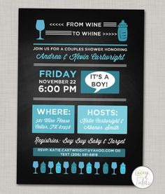"This seller offers inserts - ""bring a book?""  Couples baby shower invite Chalkboard baby shower invitation"