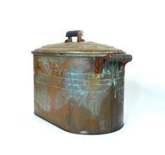 Antique Atlantic Copper Wash Tub Basin With Lid by marybethhale, $138.00