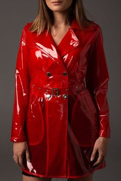 Excited to share this item from my shop: Colored Transparent Vinyl Trench Raincoat. Clear Raincoat, Red Raincoat, Vinyl Raincoat, Plastic Raincoat, Plastic Pants, Stylish Raincoats, Transparent Raincoat, Matching Friend, Mens Rain Jacket