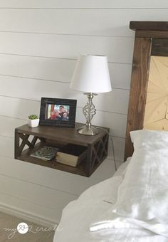 Build a DIY Floating Night Stand with a double X pattern using a 1x8x8 foot common board! MyLove2Create shows you how in a complete picture tutorial!