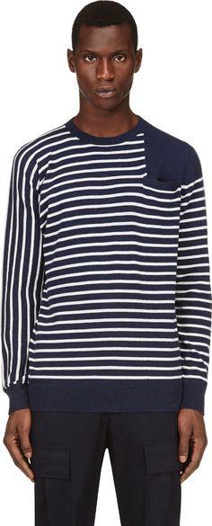 Sacai - White & Navy Striped Sweater   SSENSE