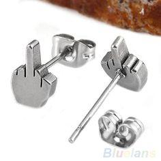 Finger Black Or Silver Stainless Steel Men Women Ear Studs Earrings AUS SELLER