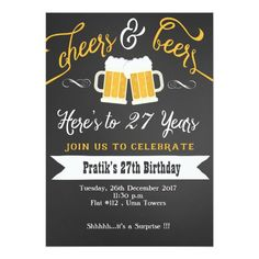 Cheer And Beers Birthday Party Invitation For Men Surprise Beer 50th