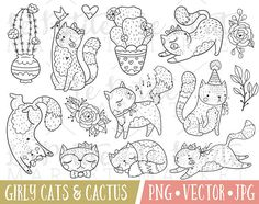 Girly Cute Cat Clipart Images Cactus Clipart Hand Drawn Cat