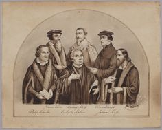 Groepsportret van; Johannes Calvijn, Philippus Melanchton, Gustaaf Adolf, Maarten Luther, Ulrich Zwingli, Johannes Hus