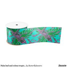 Shop Palm leaf and coleus tropical ice satin ribbon created by Butterflybeestro. Tropical Design, Fire And Ice, Coral Pink, Palm, Outdoor Blanket, Ribbon, Satin, Leaves, Turquoise