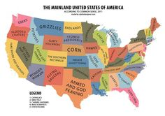 Around the US in stereotypes. LOL at Pretzelreich - and take a gander at California :)