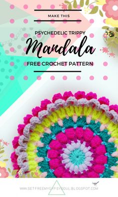 Psychadellic Parma Violet Mandala | Free Crochet Pattern - make this crocheted bohemian gypsy soul hippie trippy flower mandala for instant festival feels in your home, office, narrowboat or campsite!