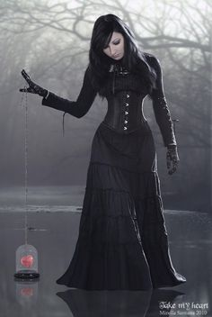Floor length black broom skirt