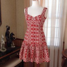 """Nanette Lepore embroidered dress Worn just once. Like new. It is fully lined. It is 34.5"""" long.  Color is rustic red it's not regular red. Sorry my camera doesn't show the actual color so I added the color on the last photo.                                     g Nanette Lepore Dresses"""