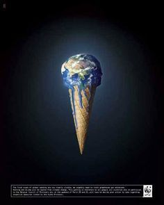 This picture shows the earth in an ice-cream cone.The meaning behind showing earth in an ice cream is that the earth is being polluted day by day and it seems like earth is melting because of the pollution.