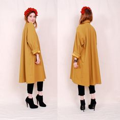 RESERVED Vintage Luxurious 60's Swing Coat - deep bold mustard hue with liquid gold satin lining  - FREE Worldwide Shipping