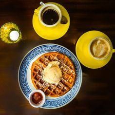 Coffee and Waffle with Honey Cinnamon ice cream at Wimbly Lu Tyrwhitt #sgeats #sgcafes #newopeningsg #wimblylu #wimblylutyrwhitt #newcafesg #ordinarypatrons