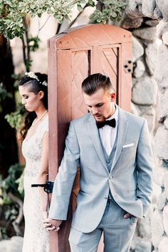Gray is a popular alternative to a traditional black tuxedo because it makes for a distinctive yet relaxed look.