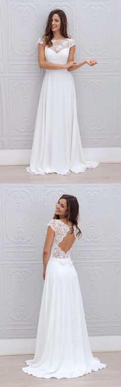 Lace Top Wedding Dress,Chiffon Wedding Dresses,Long Wedding Dress,Open Back Bridal Gown,Cap Sleeves Bridal Gown DS279 #wedding #white #bridaldress #chiffon #lace #capsleeves #okdresses #weddingdress