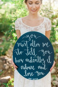 Find your favourite literary love quotes or letters and place them on signs throughout your venue. Source: Nicole Berrett Photography. #weddingsigns #literaryquotes